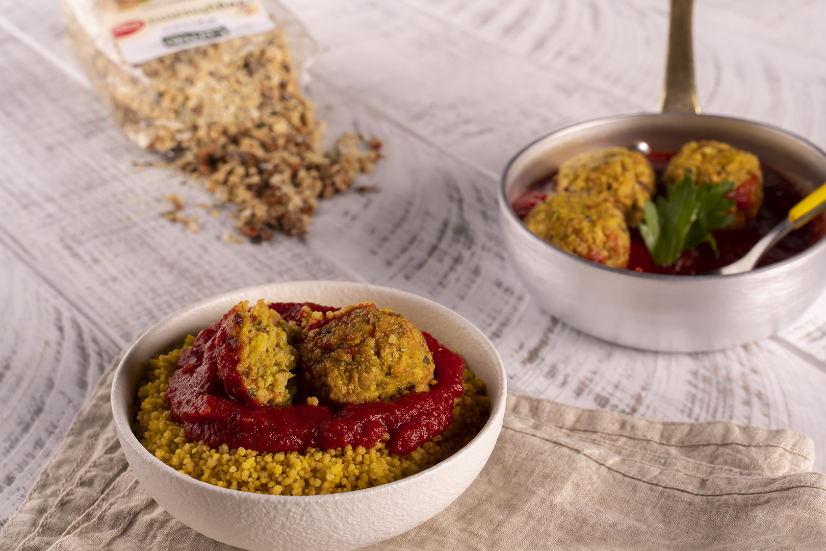 Couscous with curry veg meatballs
